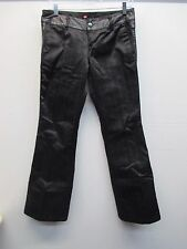 Women's Diesel black pinstripe leather accent flat front flare pants size 28 EUC