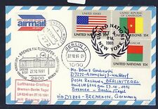 58181) LH FF Bremen - Berlin 27.10.91, Karte ab UNO New York flag