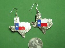 TEXAS w/ LONE STAR FLAG EARRINGS-HAND CRAFTED