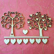 MDF Wooden Pack Of 2 Trees Cardmaking Wedding Decor Craft Hearts Design Artistic