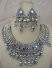 f1098 Silver Vintage Kuchi Tribal JEWELRY set Bellydance Gypsy Hippie Boho Tibet