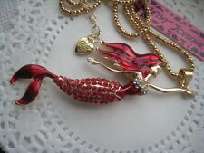 "BETSEY JOHNSON RED CRYSTAL MERMAID RED HAIR & TAIL PENDANT NECKLACE  28""  # 98"