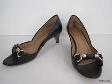 $395 HUGO BOSS 37 7 M Leather Braided Horsebit Buckle Open Toe Black Pumps Heels