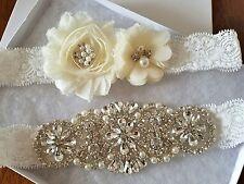 Wedding Bridal Garter Set - CRYSTAL PEARL IVORY FLOWER OFF WHITE LACE Garter Set