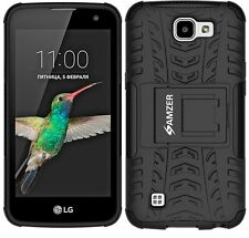AMZER Dual Layer Hybrid Warrior Case Rugged Cover Stand For LG K4 K120E - Black