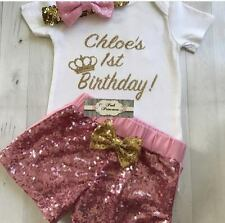 Baby Girl Personalized Gold Glitter Onesie, Personalize 1st Birthday Onesie ONLY