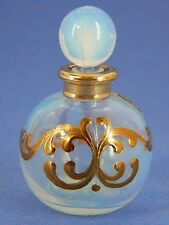 Vintage French Opalescent Perfume Bottle, Raised Gold Enamel Design, Clerik H.P.