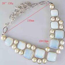 Huge Natural Opal Gemstones Crystal Bib Statement  Silver Necklace  Garms 67