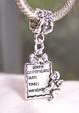 Birth Certificate Cherub New Baby Gift Dangle Bead for European Charm Bracelets