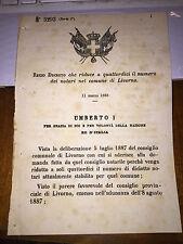 REGIO DECRETO CHE RIDUCE A 14 IL NUMERO DEI NOTARI NEL COMUNE DI LIVORNO 1888