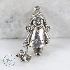 Sterling Silver | The Twins Girl Holding Teddy Bear 3g | Charm Pendant KX1403