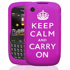 Silicone Case Cover For Blackberry 8520 Purple Keep Calm and Carry On