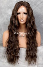 Long Brazilian Wavy Lace Front Wig HEAT SAFE Brown Auburn mix Side Part WzP 4.30