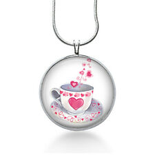 Teacup with Heart Necklace -Love Jewelry - Pendant