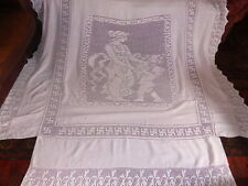 Vintage Large Pink Irish Linen Crochet Bedspread, Birds, Figures, Decorative
