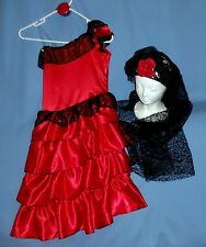 Spanish Flamenco dress girl-8-10-12-International costume;lace Mantilla;castanet
