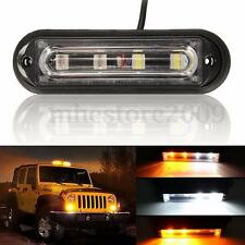 4 LED Amber&White Car Truck Emergency Strobe Warning Flashing DRL Light Bar
