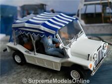 MINI MOKE MODEL CAR 1/43RD SCALE WHITE/BLUE BOND 70'S PACKED VERSION R0154X{:}