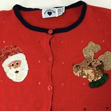 Red Not Ugly Christmas Sweater Cardigan Sequined Santa Hartstrings Size Medium M
