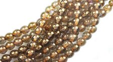 50 Topaz Tortoise Luster Czech Glass Round Beads 6MM