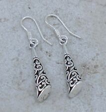 EXOTIC .925 STERLING SILVER LONG FILIGREE DANGLING EARRINGS  style# e0966