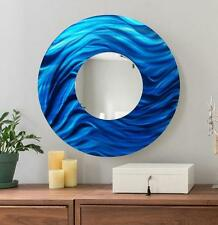 Blue Large Round Abstract Metal Mirror Wall Art Home Decor Accent by Jon Allen