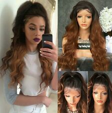 Full brown ombre  wavy  lace front wig.human hair blend 16 to 28inches long !
