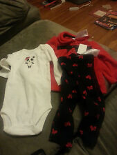 Carter's 3 Piece Set Red Fleece Jacket Panda Bodysuit - 6 Months - NWT @_@ @_@