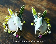 Stunning gold pink crystal, pearl & enamel fairy tinkerbell  statement earrings