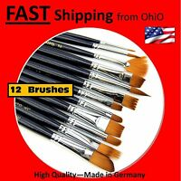 12 PACK artist oil paint brushes - - including 2# 4# 6# 8# 3/8 1/4 & more
