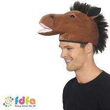 BROWN HORSE HAT WITH BLACK MANE mens funny fancy dress costume accessory