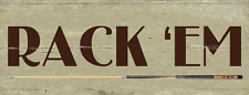 Rack 'Em Metal Sign, Billiards, Pool, Cue, Game Room, Mancave, Den, Wall Décor