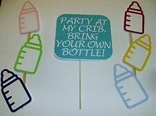 Hand Crafted DIY-Photo Booth Props Baby Shower Baby Bottle Gender Reveal (2096D)
