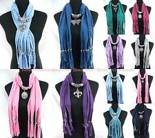 US SELLER-lot of 6 wholesale scarves fashion pendant scarf necklace