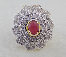 Victorian Diamante Jewelry Indian American Fashion Party Ruby Ring Gp Adjustable