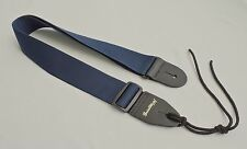 Guitar Strap For Acoustic & Electric Navy Blue Nylon Leather Ends Made In USA