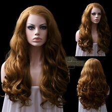 "Long Curly Wavy 24"" Light Golden Brown Lace Front Wig Heat Resistant"