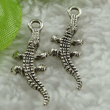 Free Ship 240 pieces tibet silver gecko charms 25x11mm #874