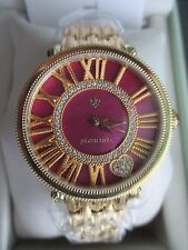 Judith Ripka NEW Stain-Steel Raspberry & Gold London Watch Averge Nw Battery BOX
