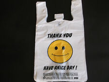470 ct PLASTIC SHOPPING BAGS,T SHIRT TYPE GROCERY BAGS,HAPPY FACEWHITE BIG BAGS.