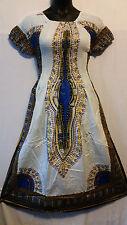 African Women Dashiki Print SunDress Kaftan Hippie Maxi Gown Plus size White Blu