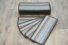 14 Striped Open Plan Carpet Stair Treads Brown / Teal Blue Pads! 14 Large Pads!