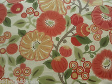 Sanderson Curtain Fabric TREE POPPY 2.0m Tomato/Olive - Vintage Art Deco Style