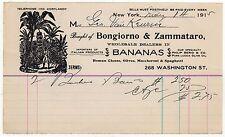 1915 BONGIORNO & ZAMMATARO BANANAS Billhead BANANA New York City OLIVE OIL