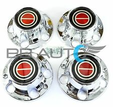 1980-1996 FORD F150 BRONCO VAN CHROME CENTER CAPS HUBS SET RED CENTER NEW