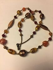"Grandmas Estate Copper Foil Brown Rust Art Glass  22"" Necklace 11/11"