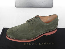 NEW Mens RALPH LAUREN Green Suede Derby Lace Up Wingtips Shoes UK 9 E EU 43 £391
