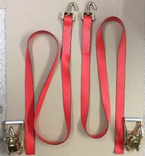 2 Ratchet Tie Down Wheel Straps, Car Hauler with Swivel J Hooks USA Made