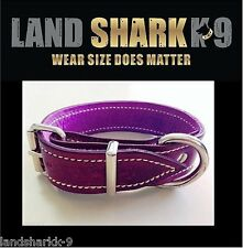 Small Violet Pure Leather Dog Collar with Soft Purple Suede Padded Lining