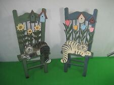 Pair of Wood Decorative Miniature Chairs Cats Kittens Flowers Bird Houses